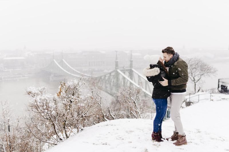 Anna + Roland Budapest Snowfall Engagement